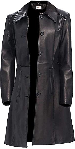 ST- Long Stylish Pu Faux Slim Stylish Women's Long Leather Jacket .