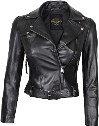 Black Leather Jacket Women - Real Lambskin Quilted Leather Jacket .