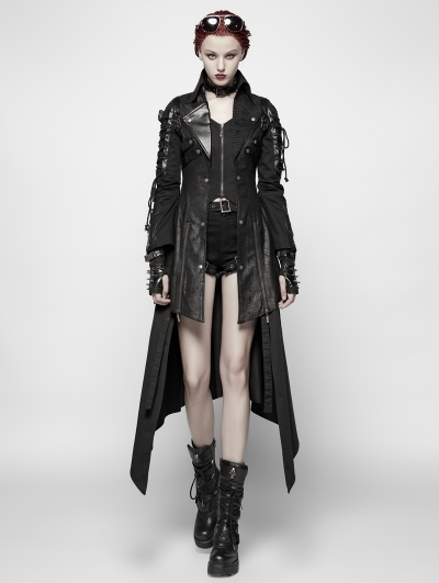 Black Long Sleeves Leather Gothic Trench Coat for Women .