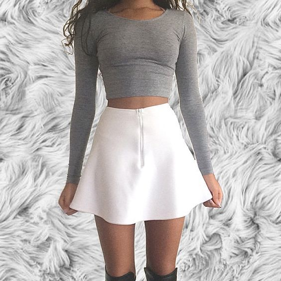 Grey Long Sleeved Crop Top, White Mini Skirt And Black Thigh High .