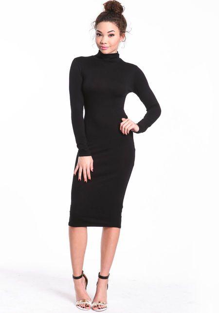 Turtleneck Midi Dress, BLACK, large (With images) | Turtle neck .