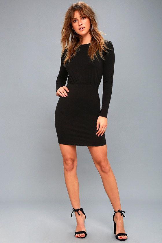 Dresses - ZOQ.CO | Black bodycon dress long sleeve, Dresses .