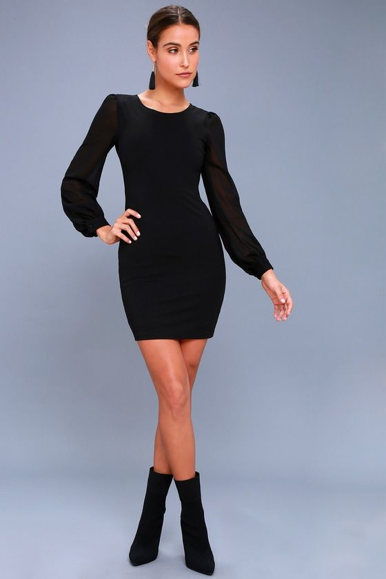 Poetic Love Black Long Sleeve Bodycon Dress | Dressy outfits .