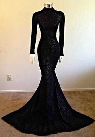 Black Prom Dresses,Mermaid Prom Dress,Sequined Prom Dress,Sequins .