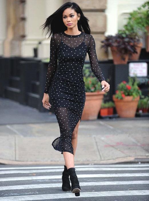 new-year-outfit-ideas-mesh-midi-dress-min | Ecemel