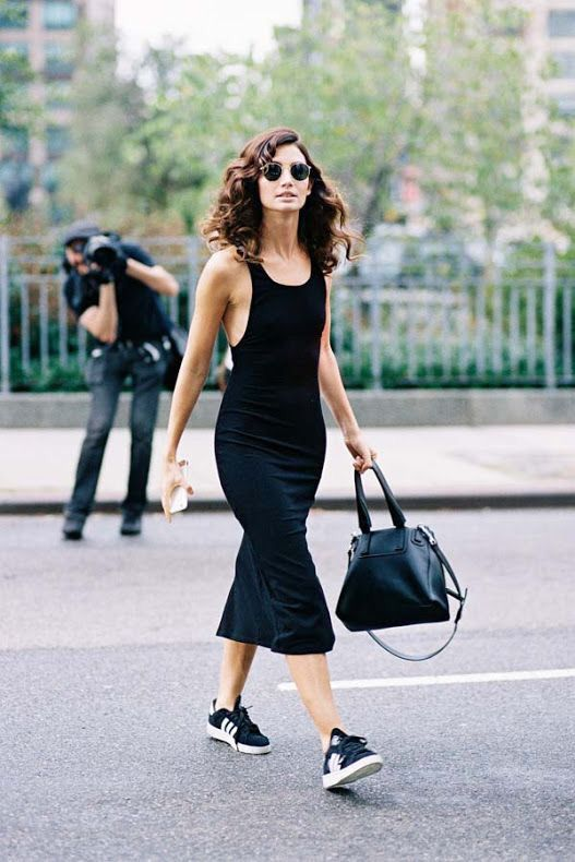 Lily Aldridge in a black bodycon midi dress + sneakers | Sneakers .