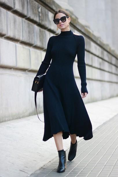 dress, winter date night outfit, midi dress, black midi dress .