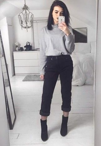 Women's Black Suede Ankle Boots, Black Boyfriend Jeans, Grey .