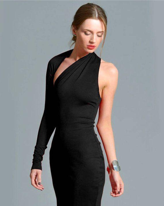 Little Black Dress, One Shoulder Dress, Black Dress, Prom Dress .