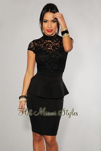 Black Lace Top Peplum Dress | Lace peplum dress, Black lace tops .