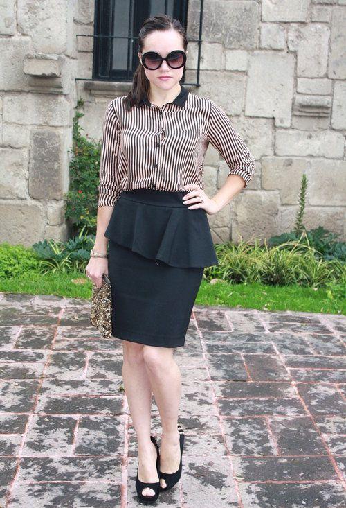 Peplum skirt outfit idea #6. Wear a black pencil peplum skirt with .