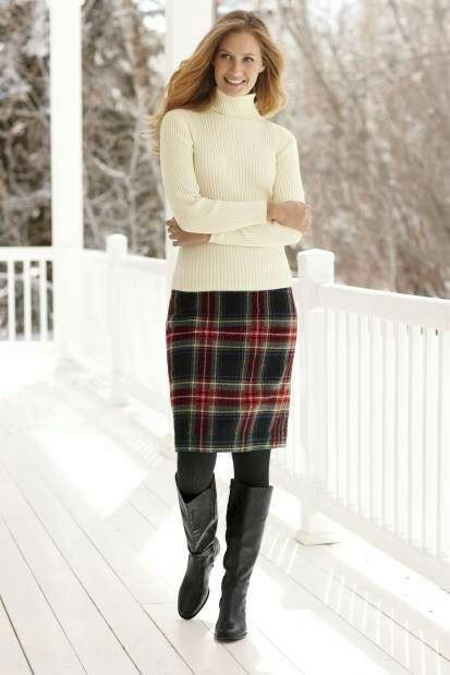 Off white turtleneck sweater plaid skirt black leather boots in .