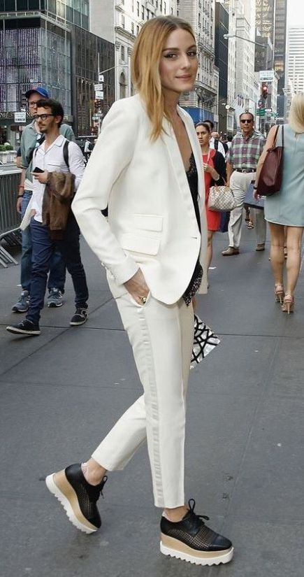 Incredible Office Outfit Idea Platform Loafers Plus White Suit .