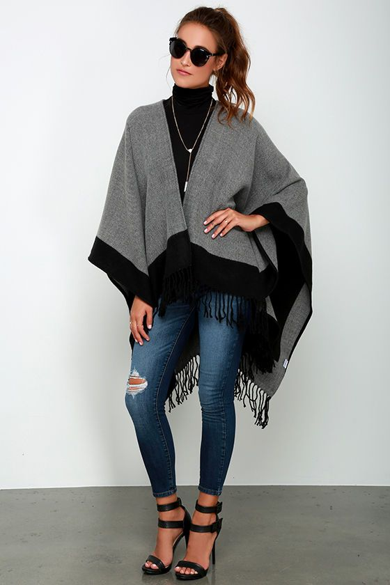 Precipice Palace Black and Grey Ponchoat Lulus.com! in 2019 | Grey .