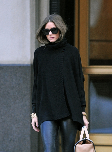 Olivia Palermo leather pants and black poncho. | Style, Street .