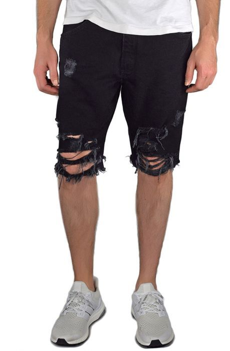 The Ripped Jean Shorts in Black | Black shorts men, Black ripped .