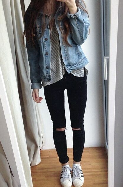 Women's Knee-Ripped Skinny Jeans | Outfits, Cool outfits, School .