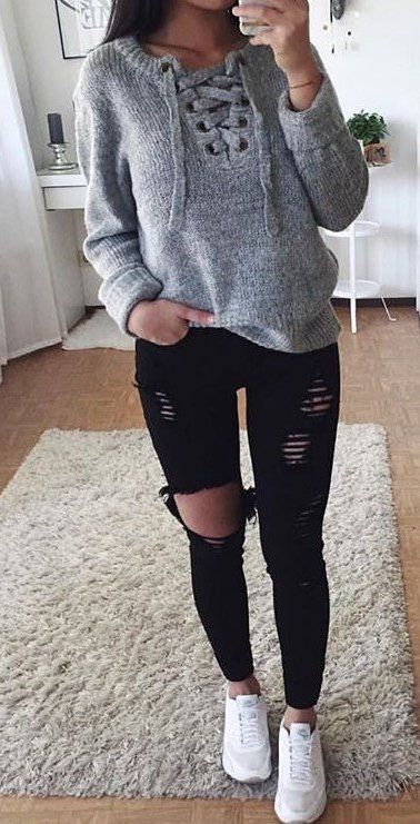 summer #outfits Grey Lace-up Knit + Black Ripped Skinny Jeans + .