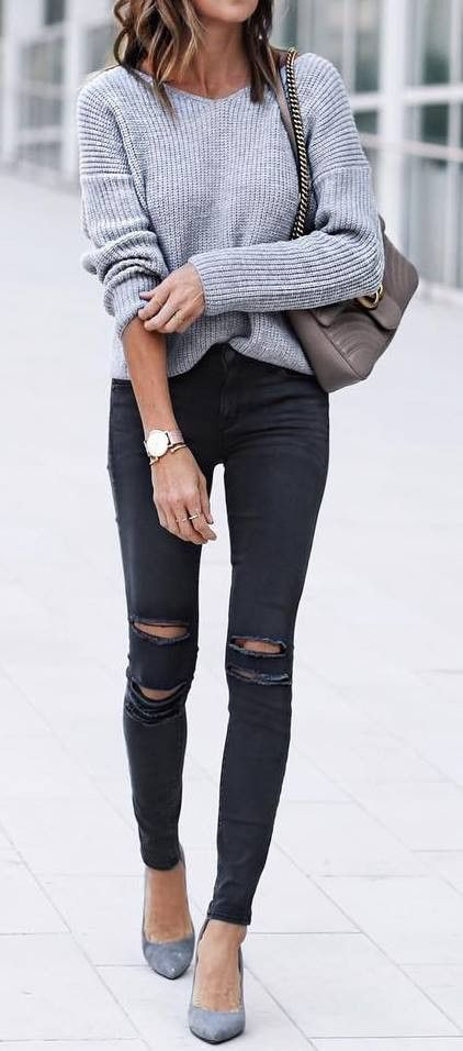 summer outfits Grey Knit + Black Ripped Skinny Jeans #mode .