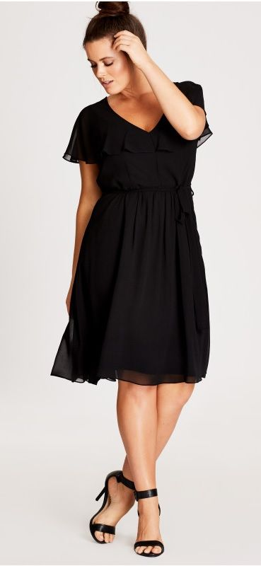 Plus Size Ruffle Dress - Plus Size Party Dress - Plus Size Black .