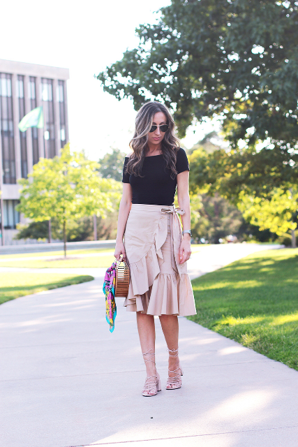 20 Outfit Ideas With Ruffle Wrap Skirts And Dresses - Styleohol