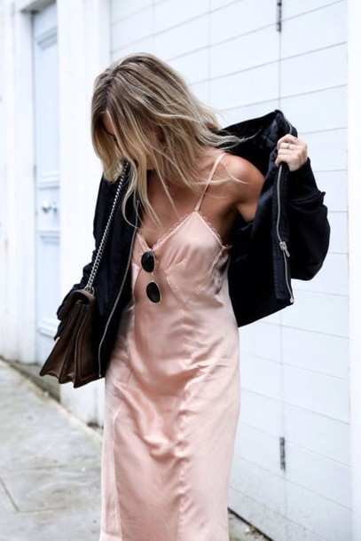 dress, pink dress, blush pink, slip dress, satin dress, black .