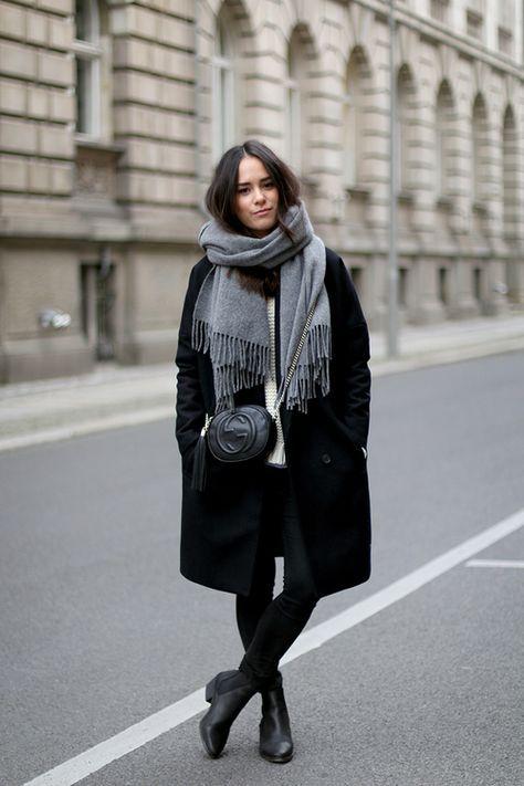 classic winter style // grey scarf, black coat, crossbody bag .