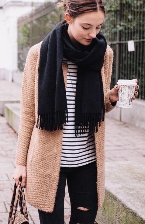 fall #fashion / black scarf + stripes | Fashion, Fall outfits .