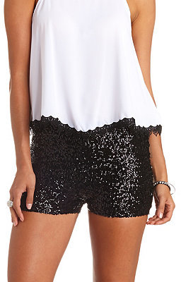 Charlotte Russe High Waisted Sequin Shorts, $24 | Charlotte Russe .