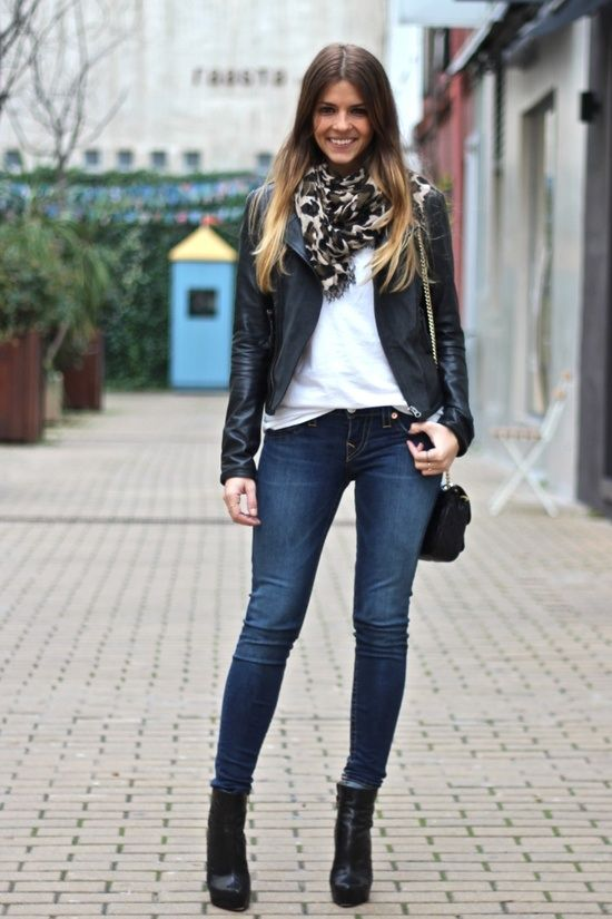 skinny jeans with ankle boots - great scarf and leather jacket .