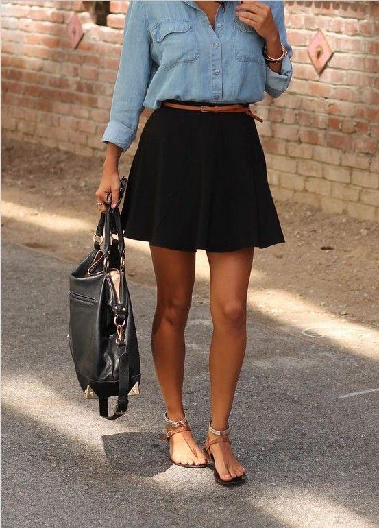8 Ways to Wear Classic Black Skirt in Spring/Summer | Black skirt .