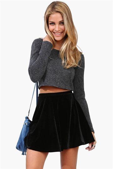 Adorable casual party outfit idea. Black velvet skater skirt, grey .