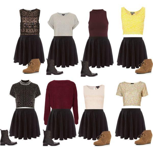Skater Skirt Outfits by ashleightb on Polyvore | Skater skirt .