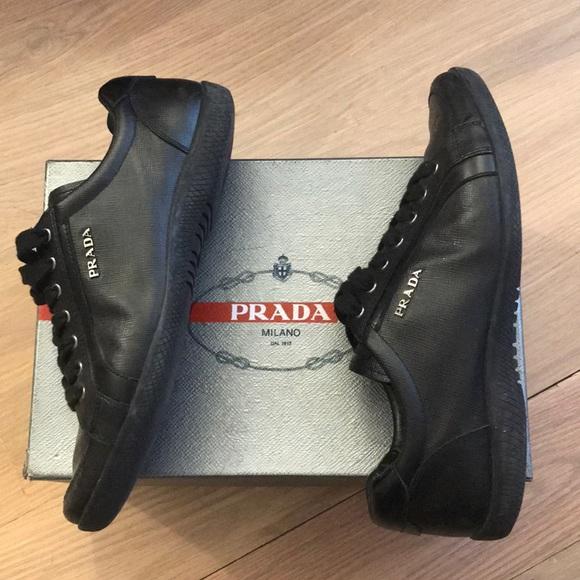 Prada Shoes | Saffiano Lux Black Sneakers Women | Poshma