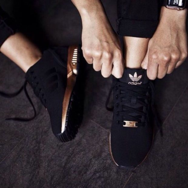 "Womens ""Adidas"" ZX Flux Black Copper Rose Gold Metallic NMD ."