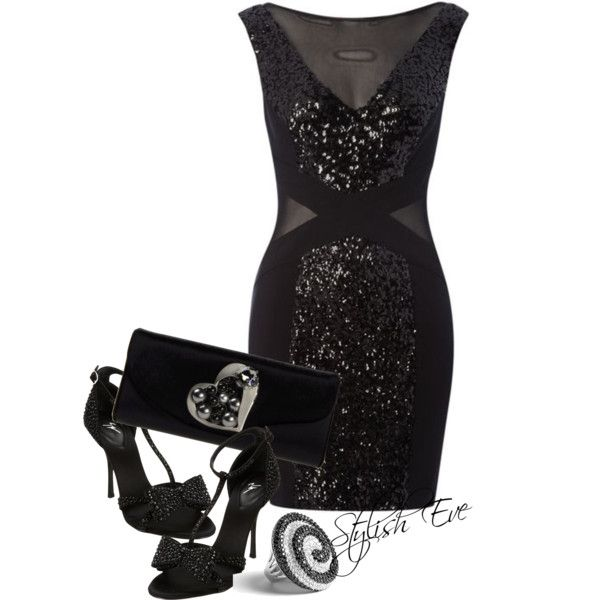 "Black Sequin Dress Outfit !"" by stylisheve on Polyvore 