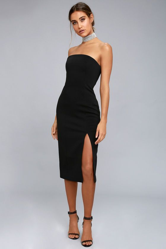Strapless Dress | Strapless midi dress, Classy dress, Black dress .