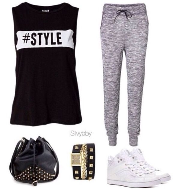 Ootd outfit black muscle tee style grey sweatpants black leather .