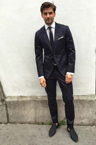 How To Wear Black Suede Loafers With a Black Suit (9 looks .