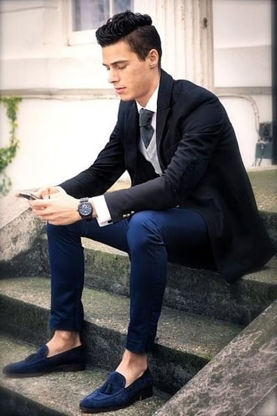 Black and Navy, with Blue Suede Tassel #Loafers. Men's Fall Winter .