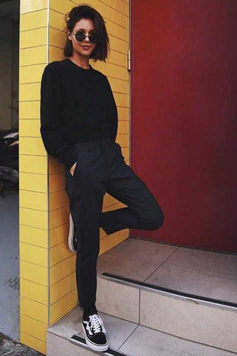 Chic Black Sweatshirt With Black Sweatpants is the best How To .
