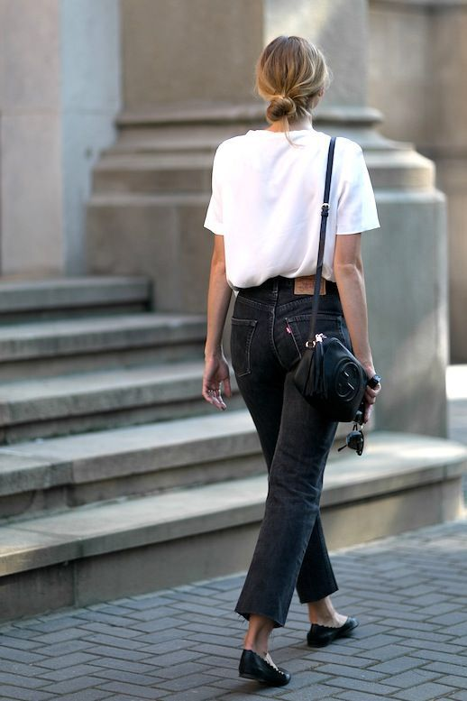 The White Tee And Black Jeans Look You Can Wear Year-Round .