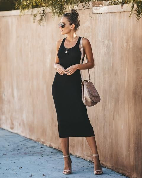 Delicacy Ribbed Midi Tank Dress | Black tank dress, Casual dress .