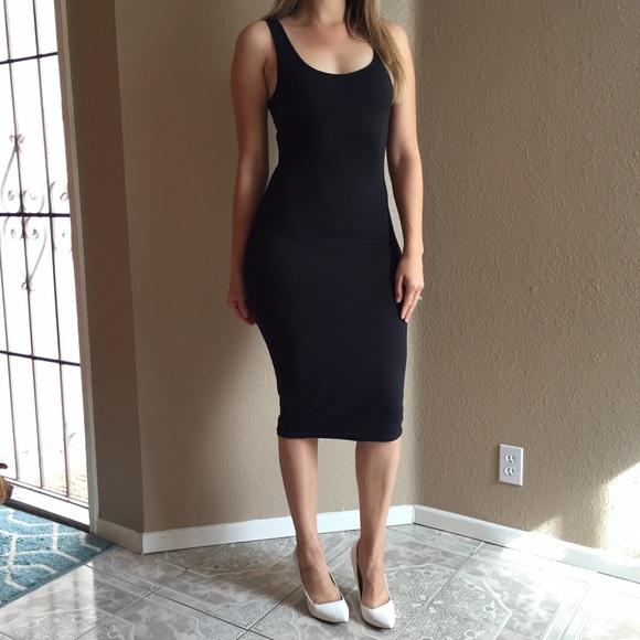 Dresses | Black Midi Tank Dress | Poshma