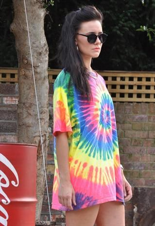 New Spiral Neon Tie Dye Over Sized Crew Neck T Shirt Dress from .