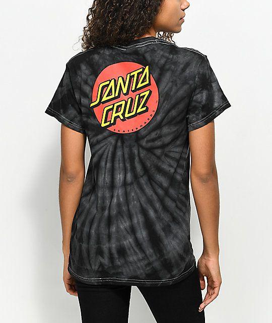Santa Cruz Classic Dot Spider Black Tie Dye T-Shirt | Black tie .
