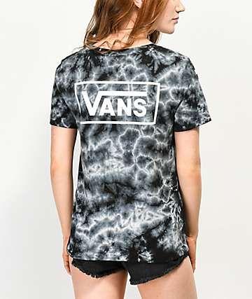 Vans Checkerboard Black Tie Dye T-Shirt | Tie dye t shirts, Black .