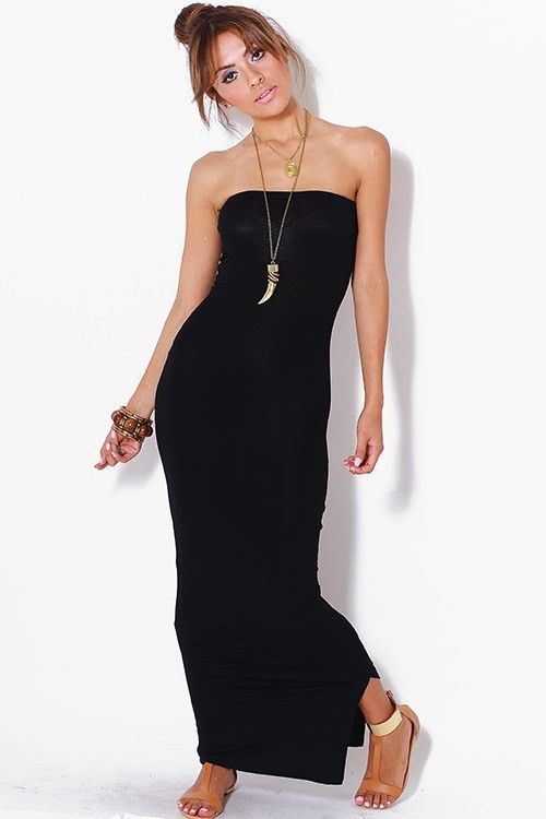 Strapless Black Jersey Maxi Tube Dress $80.00 | Tube maxi dresses .