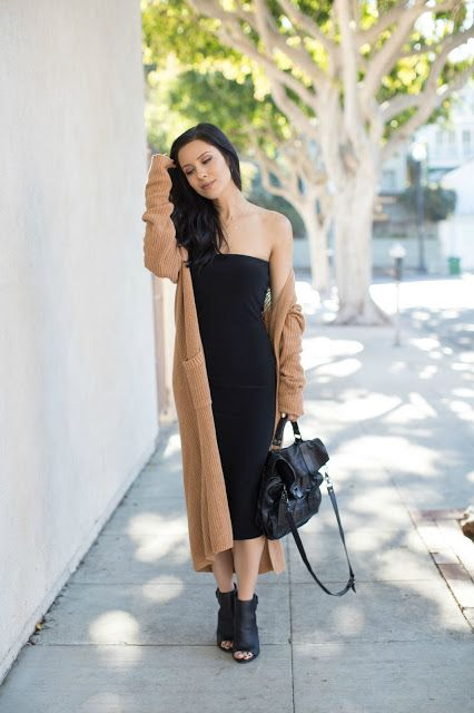 The HONEYBEE // Tube Dress + Duster Cardigan + Ankle Boots .