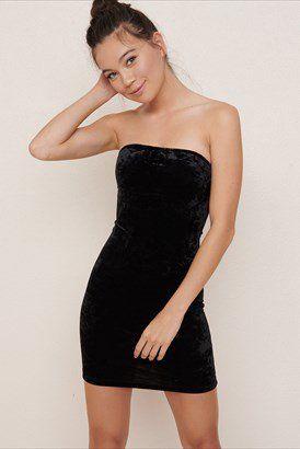 Velvet Tube Dress | Tube dress, Tube dress outf